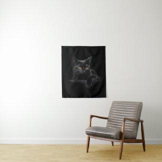 Tapeçaria pequena da parede do gato preto