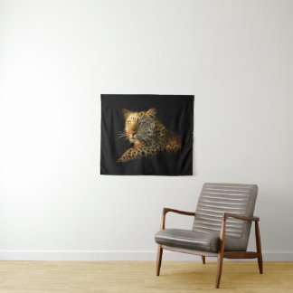 Tapeçaria pequena da parede do leopardo selvagem