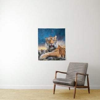 Tapeçaria pequena da parede do por do sol do tigre