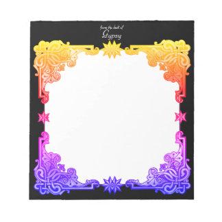 Tapeçaria tirada colorida corajosa boémia floral bloco de notas
