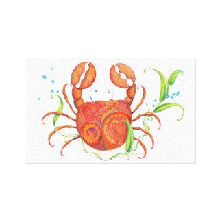 Tropical Beach Crab Canvas Wall Hanging