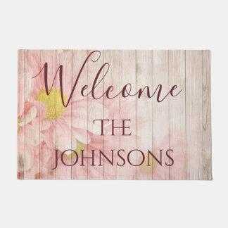Tapete A boa vinda personaliza flores chiques cor-de-rosa