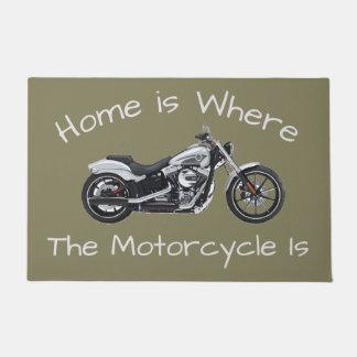 Tapete A casa é o lugar onde a motocicleta é esteira
