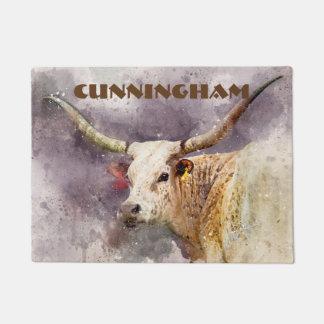 Tapete Abstrato da foto da aguarela de Texas Longhorn