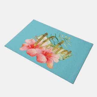 Tapete Aguarela floral do hibiscus tropical das folhas