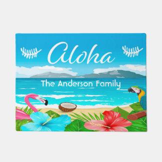 Tapete Aloha praia tropical com flamingo e flores