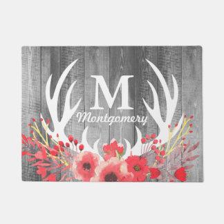 Tapete Antlers brancos florais dos cervos & pranchas de
