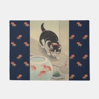 Tapete Arte japonesa do peixe dourado da caça do gato do