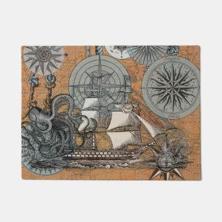 Tapete Arte náutica do navio do polvo do vintage do rosa