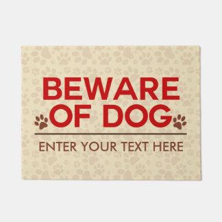 Tapete Beware do texto do costume do cão