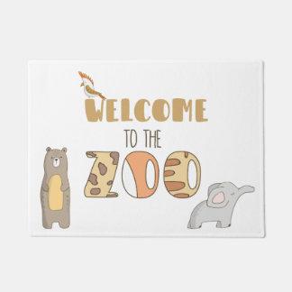 Tapete Boa vinda à esteira de porta do jardim zoológico