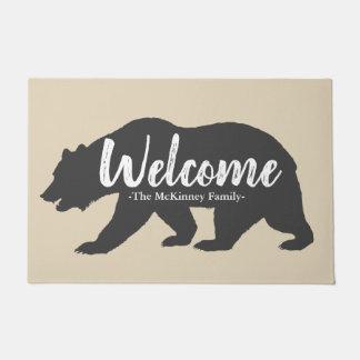 Tapete Boa vinda cinzenta rústica do nome de urso & de