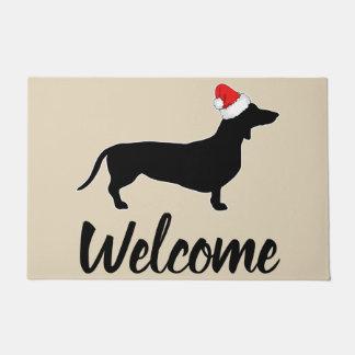 Tapete Boa vinda do Dachshund do Natal & do chapéu do