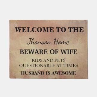 Tapete Boa vinda engraçada moderna do nome de família