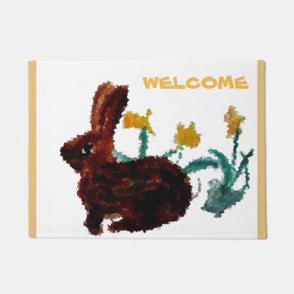 Tapete Boa vinda floral da arte do coelho