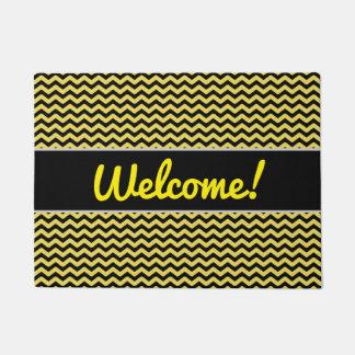 "Tapete ""Boa vinda!"" + Linha ondulada amarela & preta"