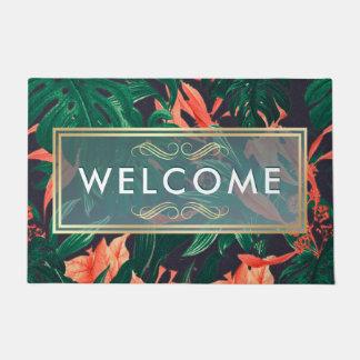 Tapete Boa vinda moderna floral tropical elegante do