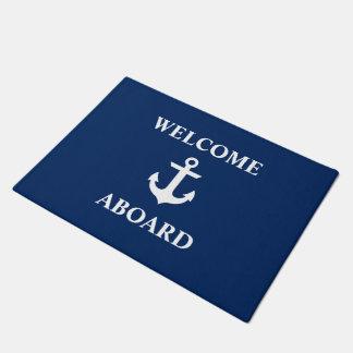 Tapete Boa vinda náutica a bordo dos azuis marinhos