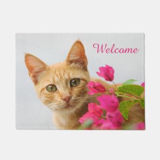 Tapete Boa vinda personalizada do gatinho do gato do