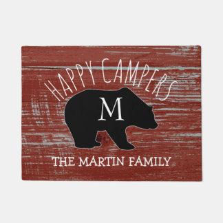 Tapete Campistas felizes Monogrammed de madeira do urso |