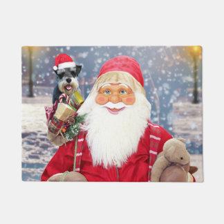 Tapete Cão do Schnauzer diminuto do Natal de Papai Noel w