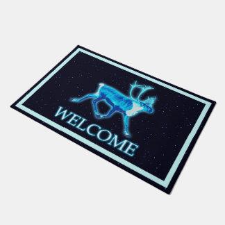 Tapete Caribu azul (rena) - boa vinda