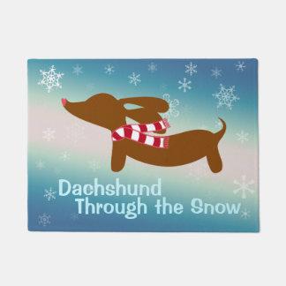 Tapete Dachshund através da esteira de porta do Doormat
