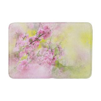 Tapete De Banheiro A aguarela cor-de-rosa floresce o fundo do verde