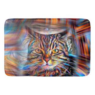 Tapete De Banheiro À deriva no gato abstrato da revolução das cores