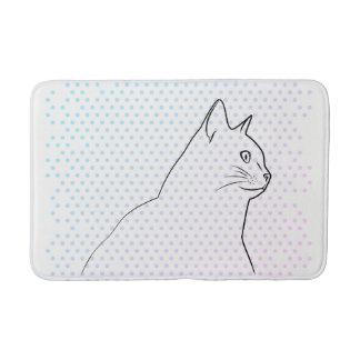 Tapete De Banheiro A lápis desenho do gato com bolinhas