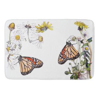 Tapete De Banheiro A margarida da borboleta de monarca floresce a