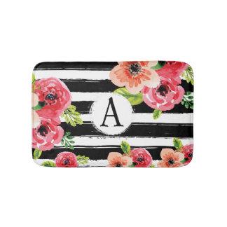 Tapete De Banheiro Aguarela floral com listras e monograma