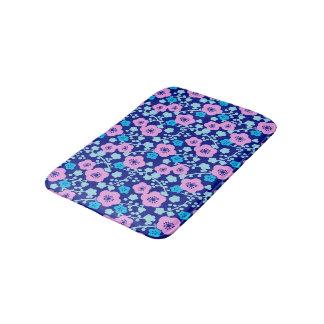 Tapete De Banheiro Ameixa japonesa rica do teste padrão floral azul e