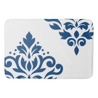 Tapete De Banheiro Arte do damasco do rolo mim azul no branco