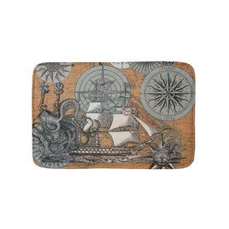 Tapete De Banheiro Arte náutica do navio do polvo do vintage do rosa