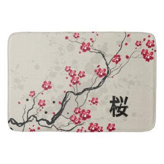 Tapete De Banheiro Arte oriental da flor de cerejeira de Sakura do