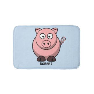 Tapete De Banheiro Azul animal personalizado personalizado do porco