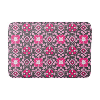 Tapete De Banheiro Azulejo marroquino floral, cor-de-rosa fúcsia &