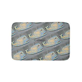 Tapete De Banheiro baleias azuis resistidas da arte popular de