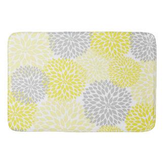 Tapete De Banheiro Banheiro floral cinzento amarelo das dálias/flores
