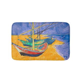 Tapete De Banheiro Barcos de Van Gogh na praia de Saintes-Maries
