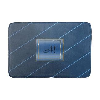 Tapete De Banheiro Bloco azul da meia-noite do monograma da listra do