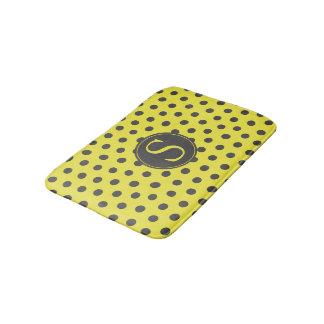 Tapete De Banheiro Bolinhas amarelas & cinzentas com monograma feito