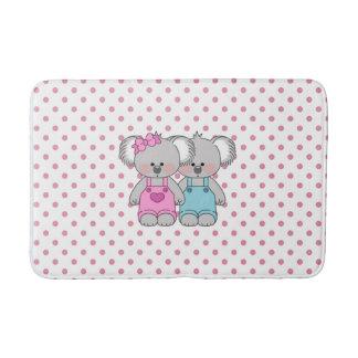 Tapete De Banheiro Bolinhas cor-de-rosa das meninas com a esteira de