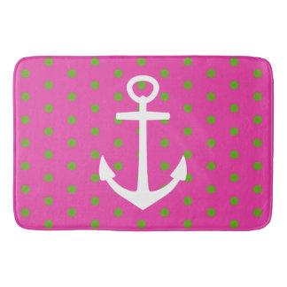 Tapete De Banheiro Bolinhas cor-de-rosa e verdes com âncora branca