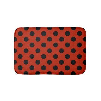 Tapete De Banheiro Bolinhas pretas no vermelho