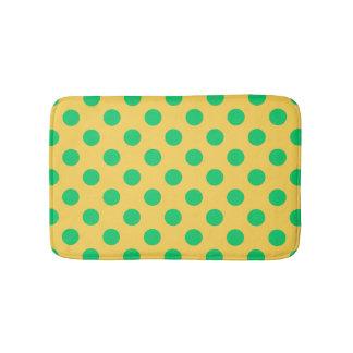 Tapete De Banheiro Bolinhas verdes no amarelo
