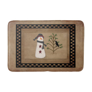 Tapete De Banheiro Boneco de neve com a esteira de banho da árvore