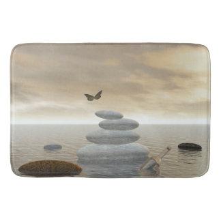 Tapete De Banheiro Borboletas em vôo em uma paisagem do zen