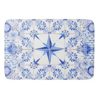Tapete De Banheiro Branco azul da praia náutica rústica moderna da